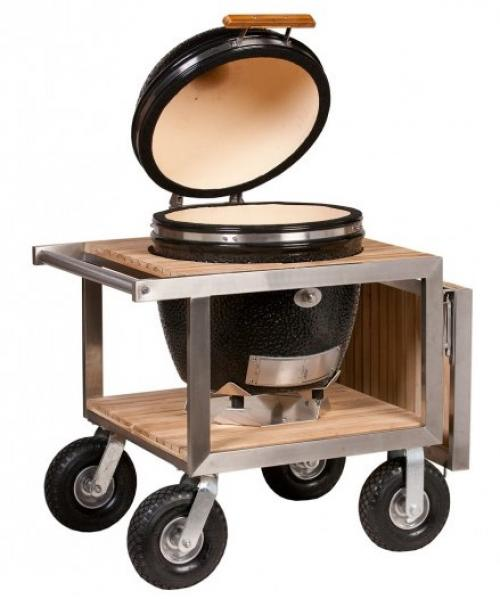 Monolith Classic Kamado Grill In Black With Stainless And