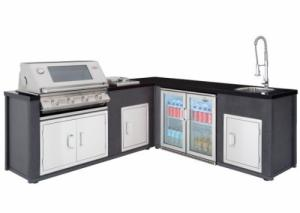 Corner Outdoor Kitchen with S3000s 4 Burner BBQ, Side Burner, Fridge, Doors, Sink & Tap - 10% OFF