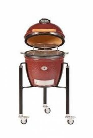 Monolith Junior Kamado Grill in Red with Steel Cart