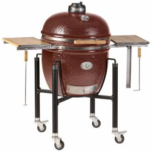 Monolith Le Chef Big Kamado Grill in Red With Sturdy Steel Cart and Bamboo Side Shelves
