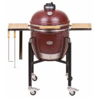 Monolith Classic Kamado Grill in Red With Sturdy Steel Cart and Bamboo Side Shelves