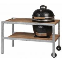 Monolith Classic Kamado Grill in Black With Galvanised Steel & Teakwood Table
