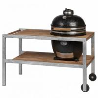 Monolith Classic Grill in Black with 2019 Stainless Steel & Teakwood Table
