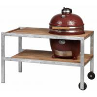 Monolith Classic Kamado Grill in Red With Galvanised Steel & Teakwood Table
