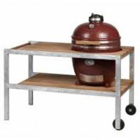 Monolith Classic Kamado Grill in Red with 2019 Stainless Steel & Teakwood Table