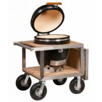 Monolith Classic Kamado Grill Black/Red With Stainless and Teak Buggy (Optional Side Table)