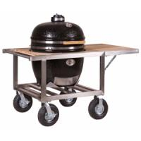 Monolith Le Chef Kamado Grill in Black With Stainless and Teak Buggy (Optional Side Table)