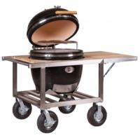 Monolith Le Chef Kamado Grill Red/Black With Stainless and Teak Buggy (Optional Side Table)