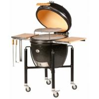 Monolith Le Chef Big Kamado Grill in Black With Sturdy Steel Cart and Bamboo Side Shelves