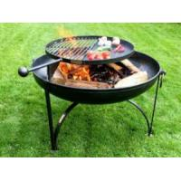 Firepits UK Plain Jane 70cm Fire Pit with Swing Arm BBQ Rack and Tabletop Lid/Cover